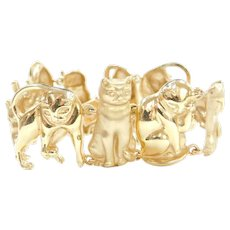 "6 3/4"" 14k Gold CAT Bracelet Wide and Heavy"