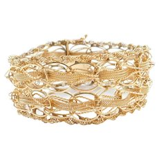 "7 1/4"" 14k Gold Wide Woven Bracelet Circa 1950's"
