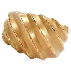 18k Gold Diamond Cut Domed Shrimp Ring