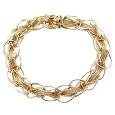 "7"" 14k Gold Woven Bracelet Circa 1950's"