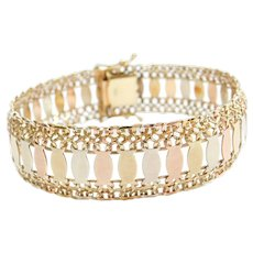 """7 1/2"""" 14k Gold WIDE Tri-Color Bracelet"""