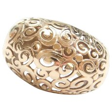 18k GOld BIG Domed Swirl Ring
