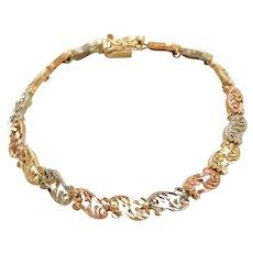 "7"" 14k Gold Tri-Color Ornate Bracelet"
