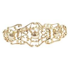 """7"""" 14k Gold Wide Ornate Bracelet"""