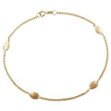 """9 3/4"""" 14k Gold Ladybug Anklet"""