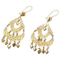 14k Gold Long Filigree Chandelier Earrings