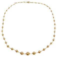 "20"" 18k Gold Graduated Bead Necklace ~ 16.5 Grams"