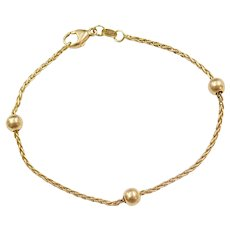 """7"""" 18k Gold Wheat Link Bracelet with Beads"""