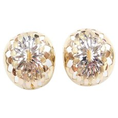 14k Gold Two-Tone Earring with Omega Backs
