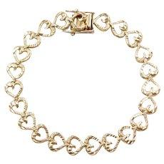 """7 1/4"""" 14k Gold Heart LOVE Bracelet"""