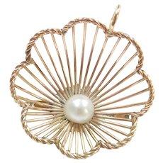 14k Gold Big Cultured Pearl Pendant / Pin / Brooch