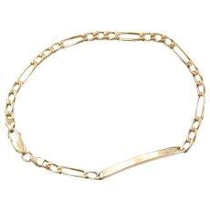 """8"""" 14k Gold Figaro Link Bracelet with Engravable Bar"""