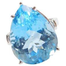 14k White Gold 18.90 Carats Big Pear Cut Blue Topaz Ring