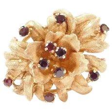 BIG 14k Gold Garnet Flower Ring