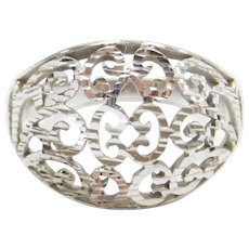 10k White Gold Cutout Dome Ring