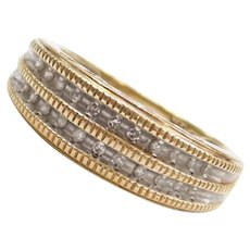 10k Gold Two-Tone Diamond MOM Band Ring