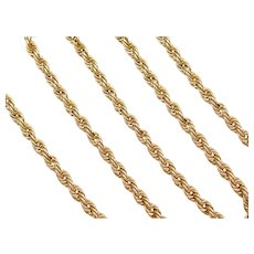 """18 1/2"""" 14k Gold Rope Chain ~ 11.2 Grams"""