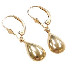 14k Gold Teardrop Earrings ~ Lever Backs