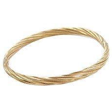 """7"""" 14k Gold Twisted Hinged Bangle Bracelet"""