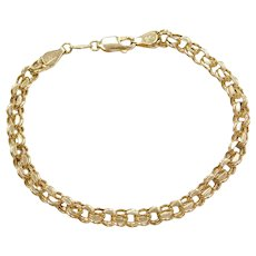 "7 1/2"" 14k Gold Double Link CHarm Bracelet"