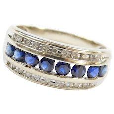 10k White Gold Sapphire and Diamond Band Ring