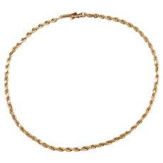 "9"" 10k Gold Diamond Cut Rope Anklet ~ 3.8 Grams"