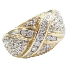 10k Gold Two-Tone Diamond Domed X Ring