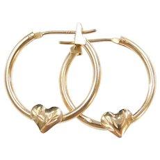 14k Gold Diamond Cut Hoop Earrings with Heart