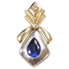 10k Gold and Sterling Silver Two-Tone Created Sapphire and Faux Diamond Pendant