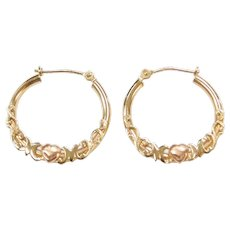10k Gold Ornate MOM Hoop Earrings with Rose Gold Heart Detail ~ Two-Tone