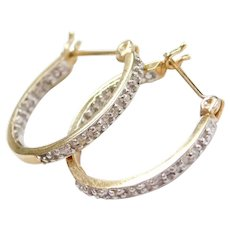 10k Gold Two-Tone Inside and Out Diamond Hoop Earrings