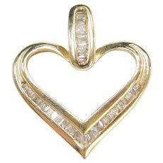 10k Gold Baguette Cut Diamond Heart Pendant