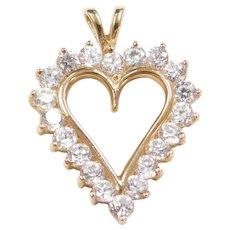 10k Gold Faux Diamond Heart Pendant