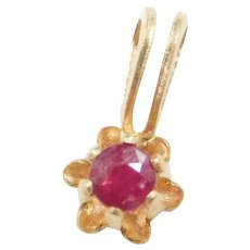 10k Gold Tiny Natural Ruby Buttercup Pendant