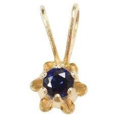 10k Gold Tiny Natural Sapphire Buttercup Pendant