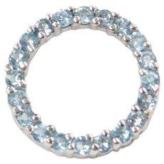 10k White Gold Blue Topaz Circle Pendant