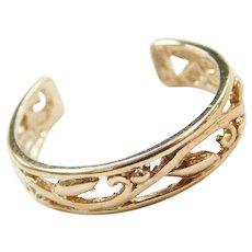 10k Gold Ornate Swirl Toe Ring