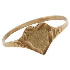 10k Gold Heart Ring ~ Ornate Swirl Design