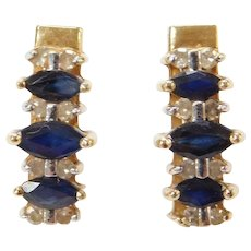 14k Gold Sapphire and Diamond Earrings ~ Two-Tone
