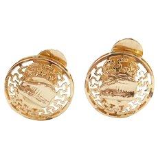 14k Gold Greek Parthenon Clip-On Earrings