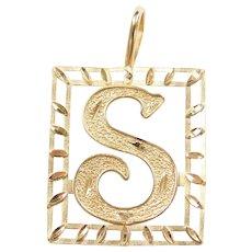 14k Gold Big Letter S Pendant