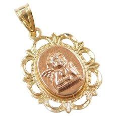 14k Gold Angel Cherub Charm / Pendant ~ Two-Tone