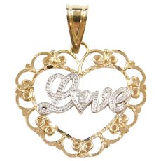 14k Gold Diamond LOVE Heart Charm / Pendant Filigree Two-Tone