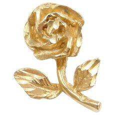 14k Gold Rose Flower Pendant