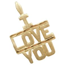 14k Gold I LOVE YOU Charm / Pendant