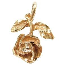 14k Gold Upside Down Hanging Rose Flower Pendant