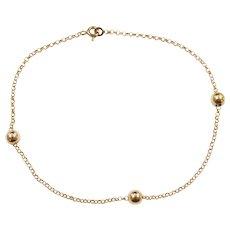 """9"""" 14k Gold Bead Rolo Link Anklet"""