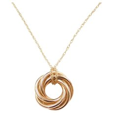 "16 3/4"" 14k Gold Love Knot Necklace"