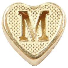 14k Gold Letter M Heart Slide Pendant