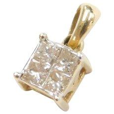 14k Gold Invisible Set Diamond Pendant